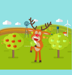 Deer in garden eats apple cute reindeer snack vector