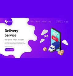 delivery service landing smartphone vector image