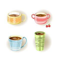 different coffee tea or soup cups and mugs vector image