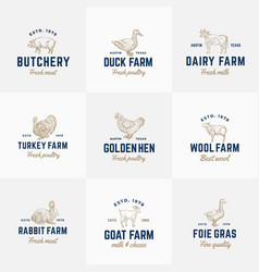 Domestic animals and poultry retro logo vector