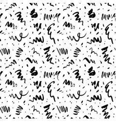 doodle lines and dots seamless pattern vector image