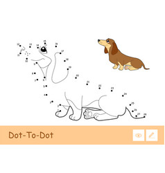 Dot-to-dot dog and colorful example vector