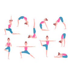 female making yoga exercises in different poses vector image