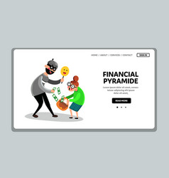 Financial pyramid steals money old people vector