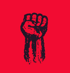 Fist held high in protest hand raised up vector