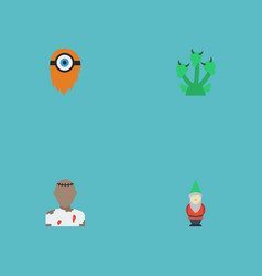 flat icons snake monster gnome and other vector image