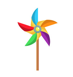 Flat paper pinwheel windmill toy icon vector