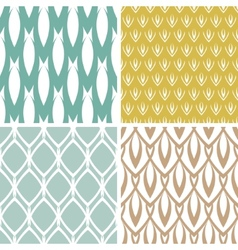 Four abstract ornamental shapes seamless patterns vector image