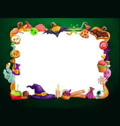 Frame halloween sweets candies and treats hat vector
