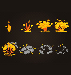 front cartoon boom explosion effect vector image