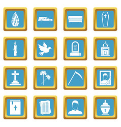 Funeral icons azure vector