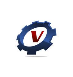 Gear logo letter v vector