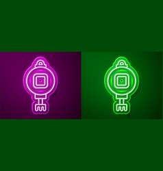 Glowing neon line chinese paper lantern icon vector