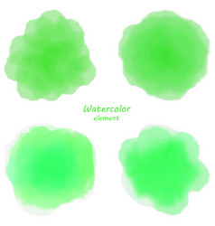green watercolor blotch set of green watercolor vector image