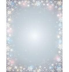 Grey background with frame of snowflakes vector