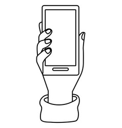 hand holding smartphone tech black and white vector image