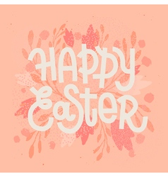 Happy Easter muted pastel pink greeting card with vector image