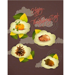Happy thanksgiving day with clouds vector