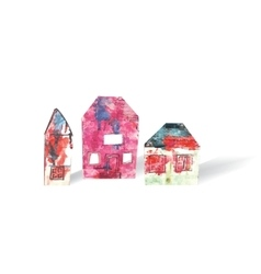 Houses objects isolate white and shadow vector image