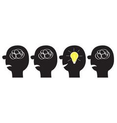 human face icon set black silhouette idea light vector image
