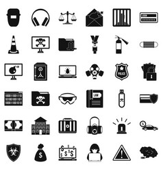 Internet crime icons set simple style vector