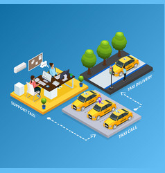 isometric support taxi service concept vector image