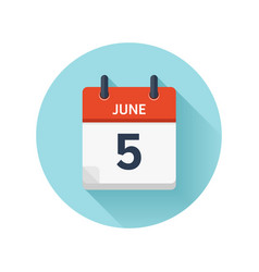 June 5 flat daily calendar icon date vector