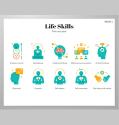 life skills icons flat pack vector image