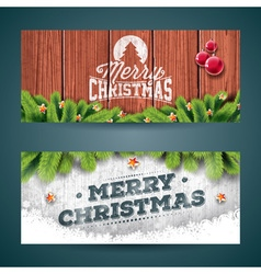 Merry Christmas banner on vintage wood background vector