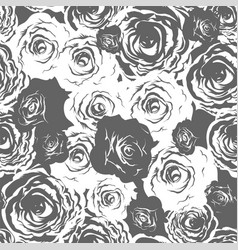 monochrome roses seamless vector image
