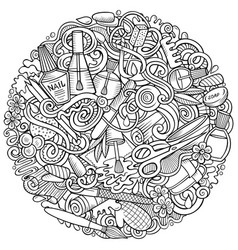 nail salon hand drawn doodles round vector image