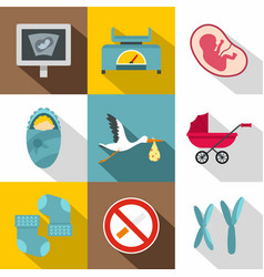 newborn care icon set flat style vector image