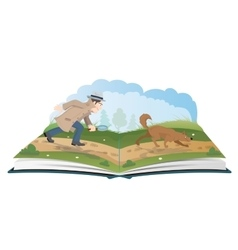 Open book about detective with magnifying glass vector image