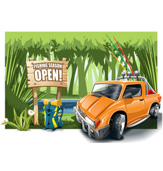 Orange cartoon off-road car with fishing vector