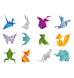 Origami animals set geometric polygon cartoons vector