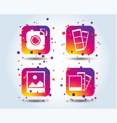 photo camera icon flash light and landscape vector image