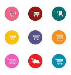 Pushchair icons set flat style vector