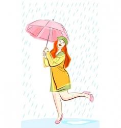 rain and woman vector image
