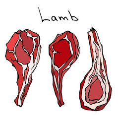 raw lamb chop ribs set realistic vector image