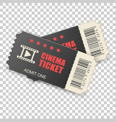 realistic cinema ticket icon in flat style admit vector image
