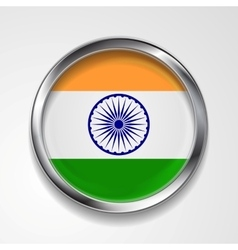 Republic of India metal button flag vector image
