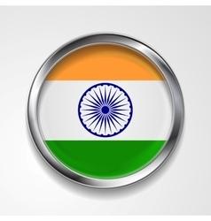 Republic of India metal button flag vector image