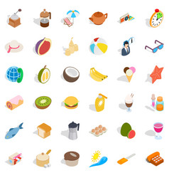 Rest icons set isometric style vector