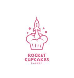 rocket cupcakes logo vector image