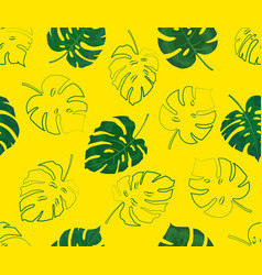 seamless pattern monstera leaves on a yellow vector image