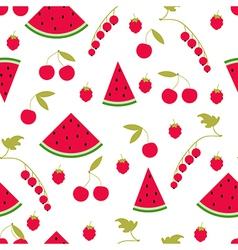 Seamless pattern watermelon cherry raspberry curra vector image vector image