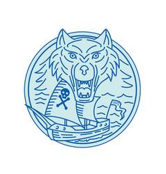 seawolf pirate ship circle mono line vector image
