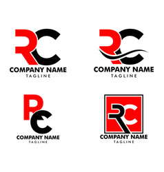 Set initial letter rc logo template design vector