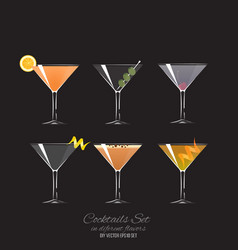 Set of 6 cocktails in coupe glass vector