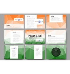Set of 9 templates for presentation slides Happy vector